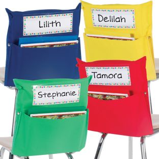 Store More® Grouping Chair Pockets - 8 chair pockets, 8 name tags