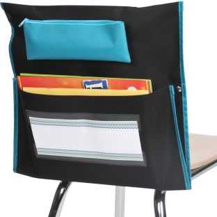 Deluxe Chair Pockets with Pencil Case – 6 Pack – Black/Turquoise