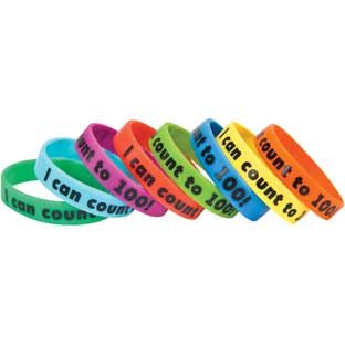 I Can Count To 100! Silicone Bracelets - 24 bracelets