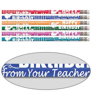 Happy Birthday From Your Teacher Pencils - 12 pencils