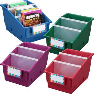 Chapter Book Library Bins™ With Dividers - Royal