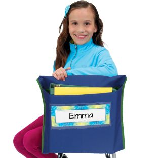 Store More® Deep-Pocket Chair Pockets, Navy - 6 chair pockets, 6 name tags