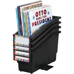 Book And Binder Holder With Stabilizer Wing And Label Holder™ - Black - 4 bins, 8 labels, 4 label covers