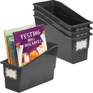 Durable Book And Binder Holders™ - Black - 4 bins, 4 labels