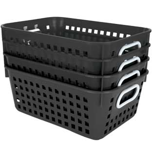 Book Baskets, Medium Rectangle - Black - 4 baskets