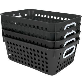 Book Baskets, Medium Rectangle - Black - 4 baskets