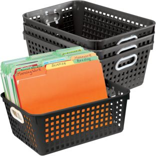 Book Baskets, Large Rectangle - Black - 4 baskets