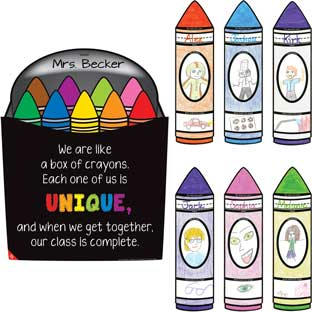 Ready-To-Decorate® Crayon Welcome Kit - 1 poster, 24 diecut crayons