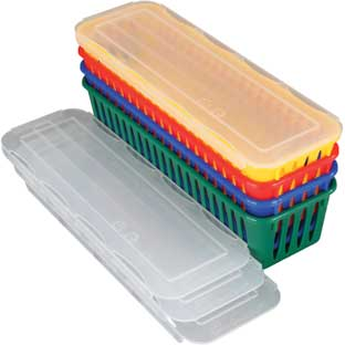 Pencil And Marker Baskets With Lids - 4-Pack, Primary