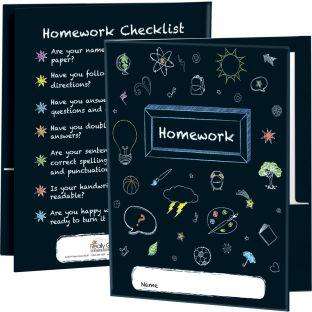 Chalkboard Motif Homework Folders - 12 folders