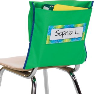 Store More® Deep-Pocket Chair Pockets - Green - 6 chair pockets, 6 name tags
