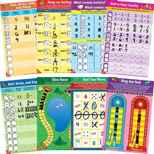 Math Mat Dice Games -Grades K-2 - 24 mats
