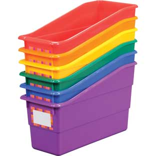Group Colors For 6 - Durable Book And Binder Holders - 6 bins