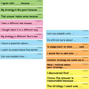 Accountable Talk Sentence Starters - 18 sentence strips