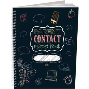 Parent Contact Record Book - Chalkboard Style - 1 book, 49 tabs
