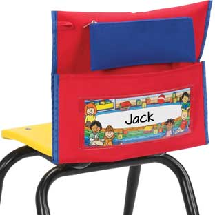 Early Childhood Deluxe Chair Pockets with Pencil Case– 6 Pack – Red/Blue