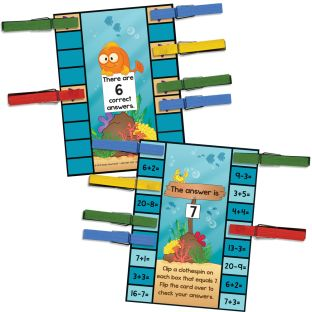 Addition And Subtraction Clip 'N' Check™ Activity - 21 cards, 36 clothespins