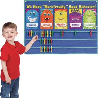 "We Have A ""Monstrously"" Good Behavior! Clip 'N' Track System - 1 pocket chart, 41 cards"