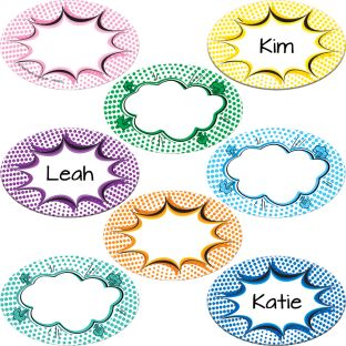 Student Name Superhero Burst Magnets - 32 magnets