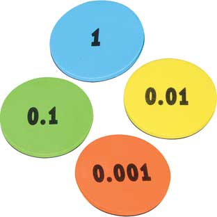 Decimal Place Value Foam Tokens Demonstration Magnets