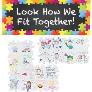 Look How We Fit Together! Bulletin Board Display - 1 banner, 32 puzzle pieces