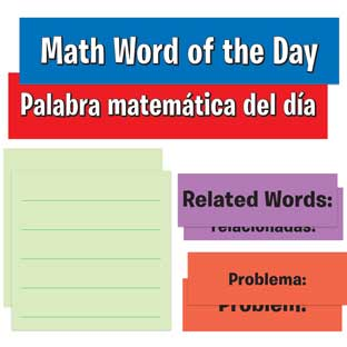 Math Word Of The Day Pocket Chart™ English/Spanish Cards Refill