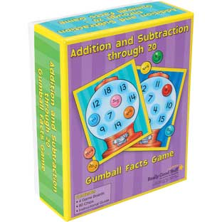 Addition And Subtraction Through 20 Gumball Facts Game - 4 mats, 80 chips