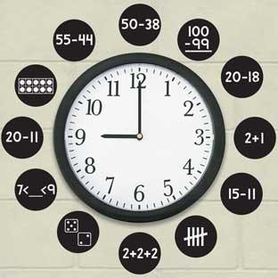EZ Stick™ Math Problems Clock Numbers - Primary