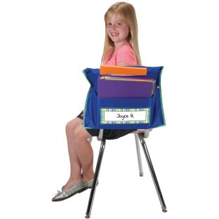 Store More® Dual Storage Deep-Pocket Chair Pockets - Navy - 6 chair pockets, 6 name tags