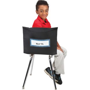 Store More® Deep-Pocket Chair Pockets - Black - 6 chair pockets, 6 name tags