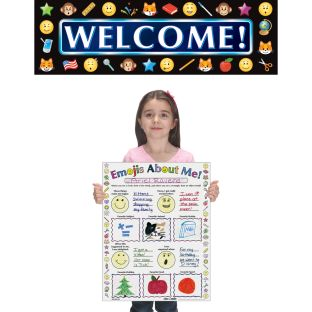 Ready-To-Decorate® Emoji Welcome Kit - 1 banner, 24 posters