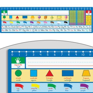 Spanish/English 120 Grid With Number Line Self-adhesive Vinyl Desktop Helpers™ - 24 helpers