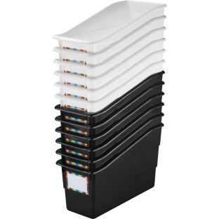 Durable Book And Binder Holders - Black and White 12-Pack