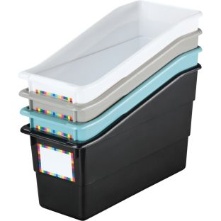 Durable Book And Binder Holders - Neutral Colors - 4 bins, 4 labels