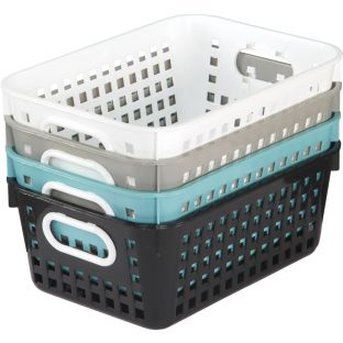 Medium Rectangle Book Baskets - Neutral Colors - 4 baskets