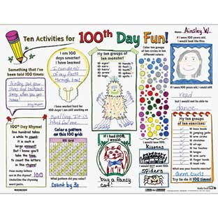 Ready-To-Decorate® Ten Activities For 100th Day Fun! Posters - 24 posters