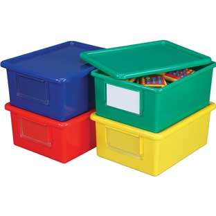 Large Easy-Label Bins With Lids, 4-Pack, Primary