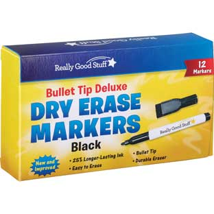 Black Bullet Tip Deluxe Dry Erase Markers - 12 markers