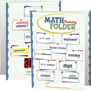 Math Vocabulary Tri-Fold 3-Pocket Folders - Intermediate - 12 folders