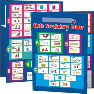 Math Vocabulary Tri-Fold 3-Pocket Folders - Primary