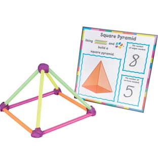 Building Shapes Activity - 16 cards, 100 straws, 3 lbs. dough
