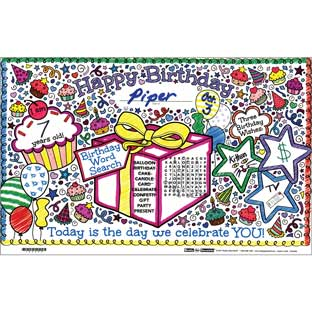 Ready-To-Decorate® Doodle Birthday Activity Mats