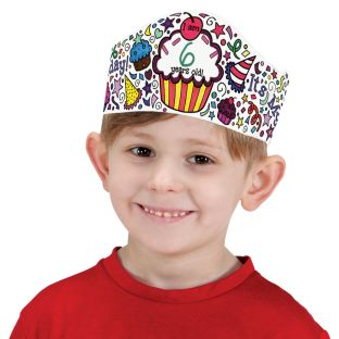 Ready-To-Decorate® Doodle Birthday Crowns - 12 crowns