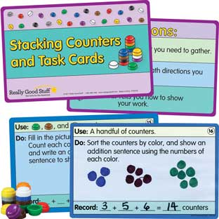 Stacking Counters And Task Cards Kit - 500 counters, 21 cards