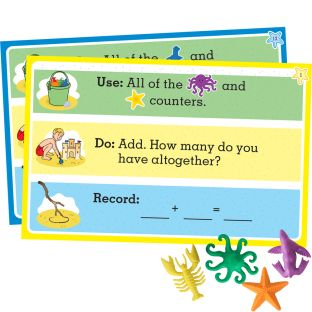 Aquatic Counters and Task Cards Kit - Help Students Practice A Variety Of Early Math Skills with 84 Counters and 22 Laminated Double Sided Task Cards