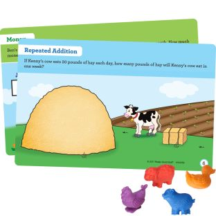 Farm Animal Counters and Task Cards Kit - Provide Hands On Math Practice with 72 Counters and 22 Laminated Double Sided Task Cards