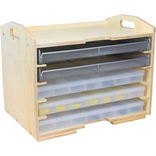 Supply Rack With 3 Storage Cases And 2 Mesh Trays - 1 rack, 3 cases, 2 trays