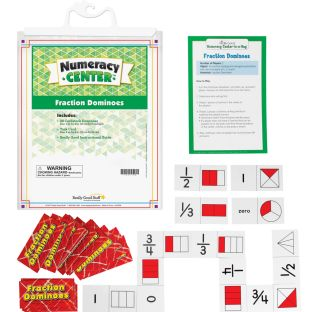 Fraction Dominoes Numeracy Center with Storage Bag - Grab and Go Learning Pack - Improve Fraction Recognition With This Fun Dominoes Game - Grades 1-2