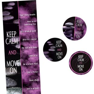 Keep Calm And Move On Stickers And Bookmarks - 24 stickers, 24 bookmarks