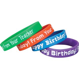 Happy Birthday From Your Teacher Silicone Bracelets - 24 bracelets